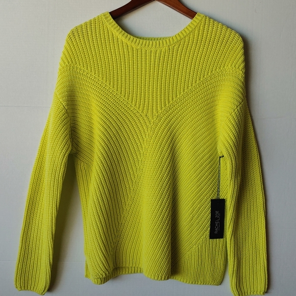NWT Rachel Zoe chunky lime green sweater NWT